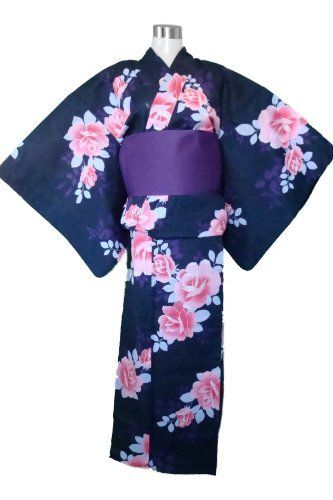6aa40daa14552 Traditional Japanese Kimono Yukata (Y115b) Black & Pink Rose Flower + Obi  Belt by myKimono. $74.95. Adjustable hem fitting up to US Women's size 18.
