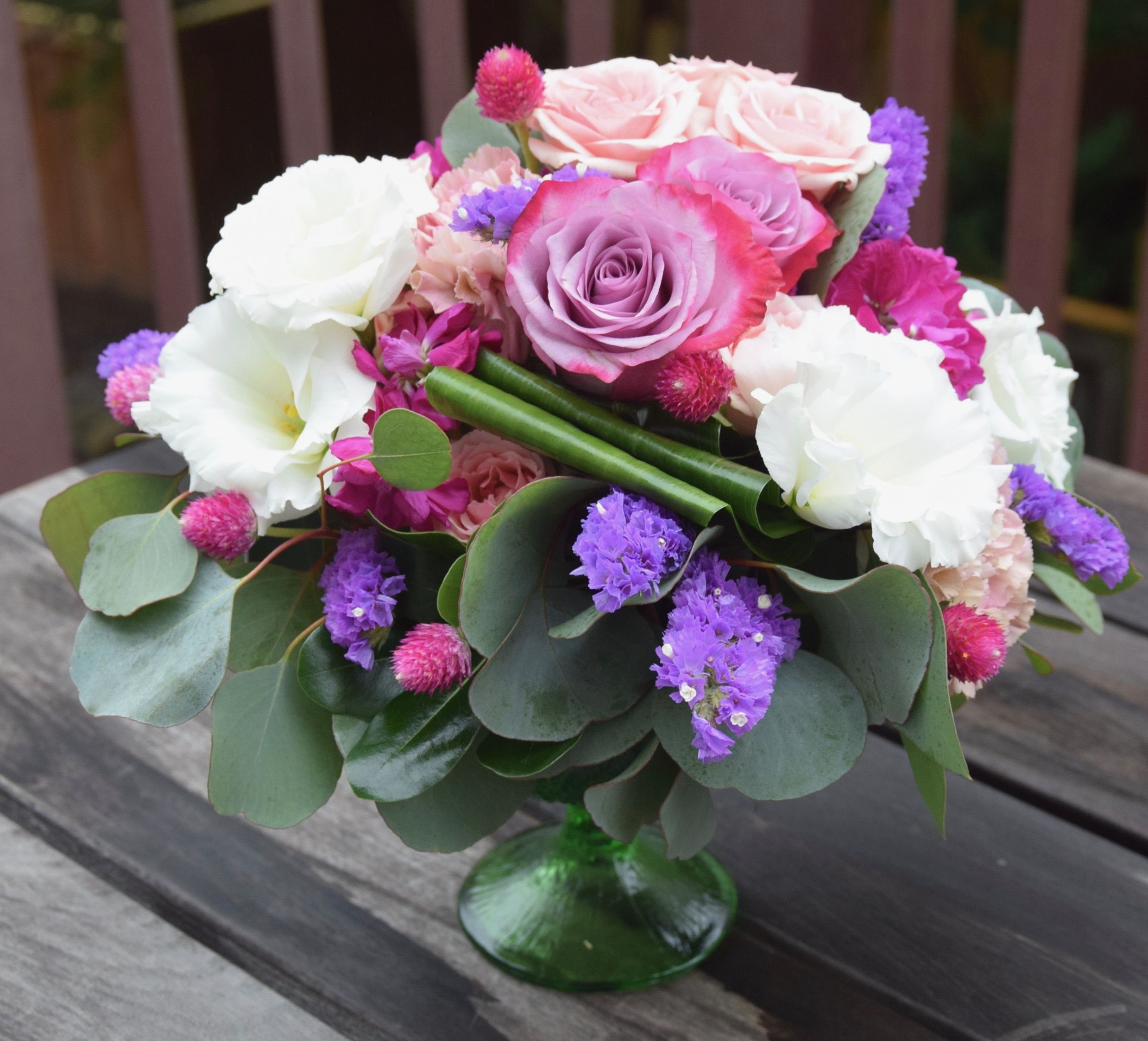 Small Compote Flower Arrangement With White Pink Purple And