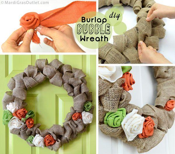 Photo of DIY Burlap Bubble Wreath with Ribbon Rosettes