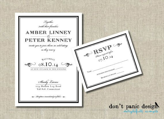 Printable Wedding Invitation Set - Black Tie Wedding - Formal - formal business invitation
