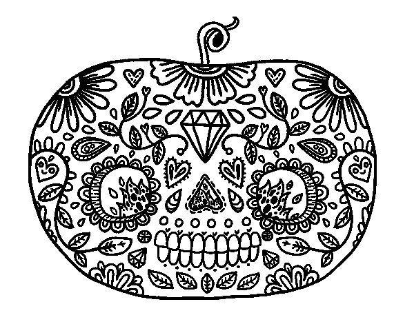 Dibujos Para Colorear De Calabazas De Halloween Para Imprimir: Dibujo De Calabaza Del Día De Los Muertos Para Colorear