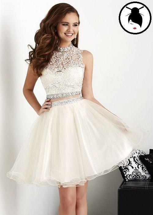 Genc Kiz Abiye White Homecoming Dresses Two Piece Homecoming Dress Prom Dresses Two Piece