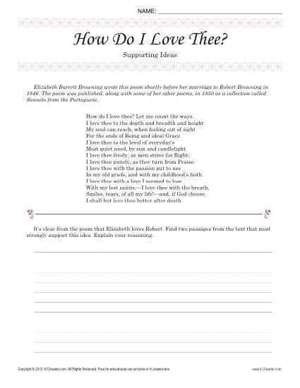 How Do I Love Thee Supporting Ideas 8th Grade Reading Passage Worksheet 8th Grade Reading Reading Comprehension Worksheets Poetry Worksheets 8th grade reading comprehension worksheet