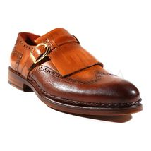 Tan Brown Monk Single Buckle Fringed Wing Tip Burnished Derby Toe Leather Shoes
