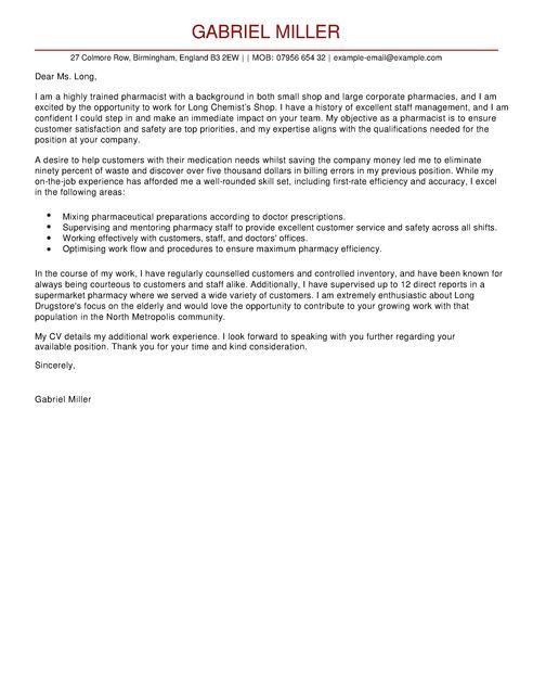 Cover Letter Template Pharmacist Cover Letter For Resume Job