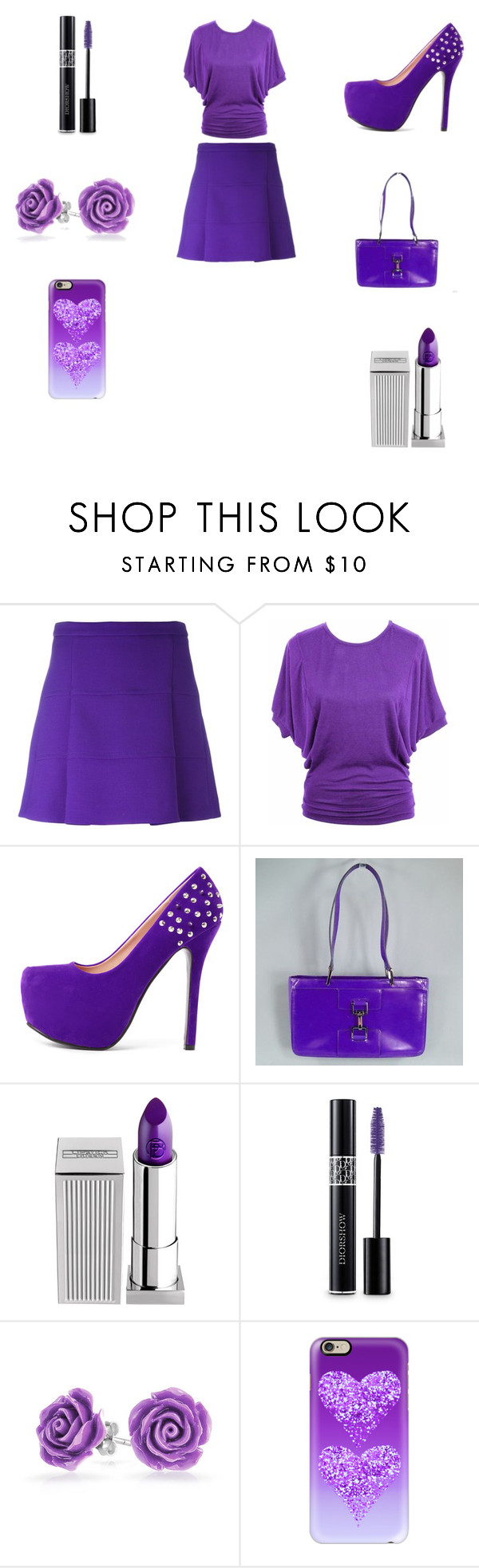 """""""Purple Shake Outfit"""" by ibur-7snowflakes ❤ liked on Polyvore featuring Victoria, Victoria Beckham, jon & anna, Gucci, Lipstick Queen, Christian Dior, Bling Jewelry and Casetify"""