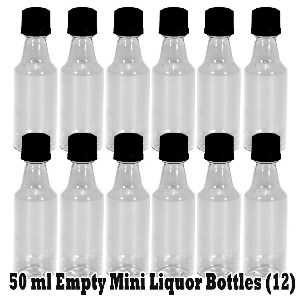 Mini Plastic Alcohol 50ml Liquor Bottle Shots + Black Caps for Party ...