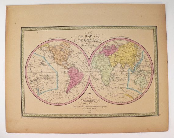 Original 1852 antique world map of the world hemisphere map 1852 original 1852 antique world map of the world hemisphere map 1852 mitchell cowperthwait map old world map unique guy gift for office art gumiabroncs Gallery