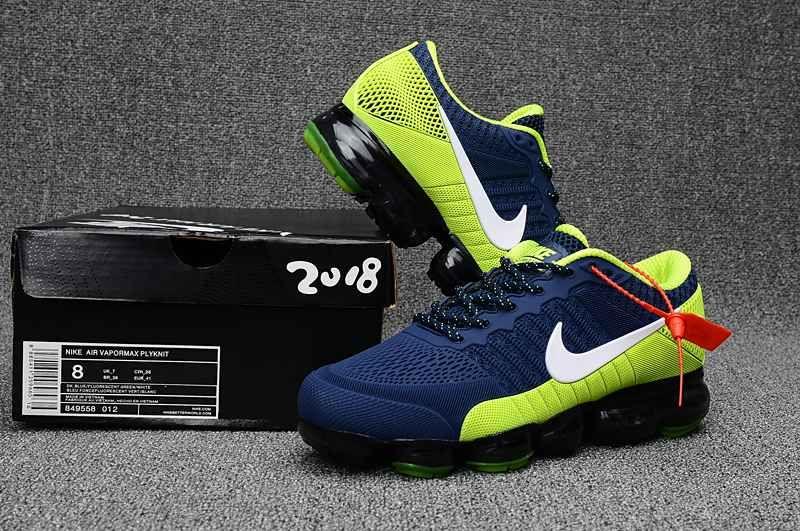 New Nike Air Vapormax 2018 Kpu Fluorescent Green Navy Blue Men Nike Air Nike Best Nike Running Shoes