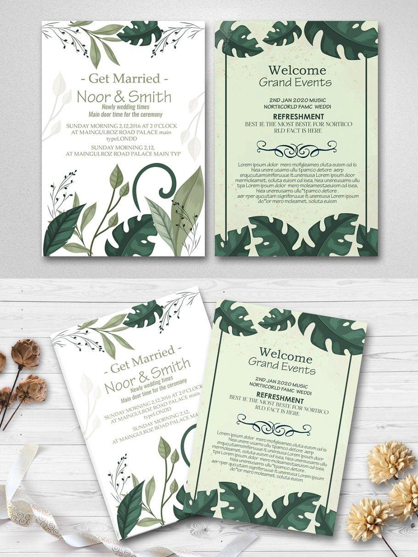 Double Sided Wedding Card Wedding Cards Wedding Invitation Cards Flower Wedding Invitation