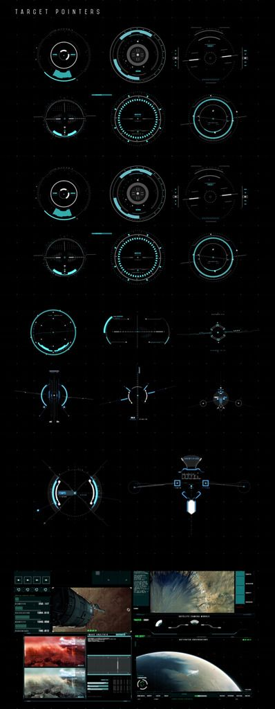 Science Fiction UI Design with HUD elements.
