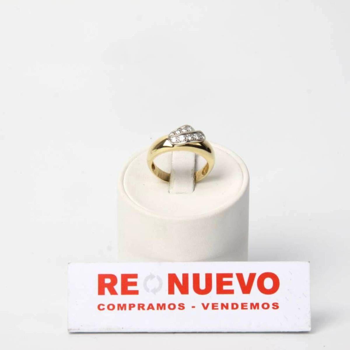 Anillo de oro bicolor con diamantes de segunda mano E274462G   Tienda online de segunda mano en Barcelona Re-Nuevo
