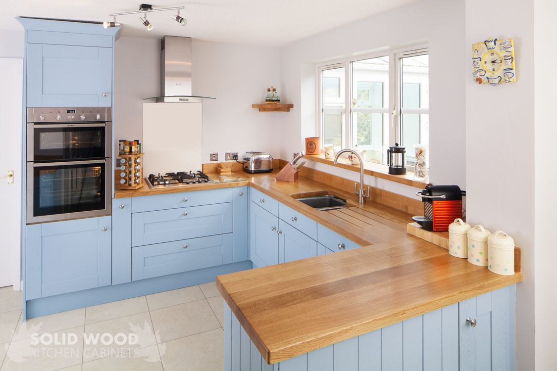 Blue painted kitchen cabinets - Solid Oak Kitchen Cabinets Painted Lulworth Blue