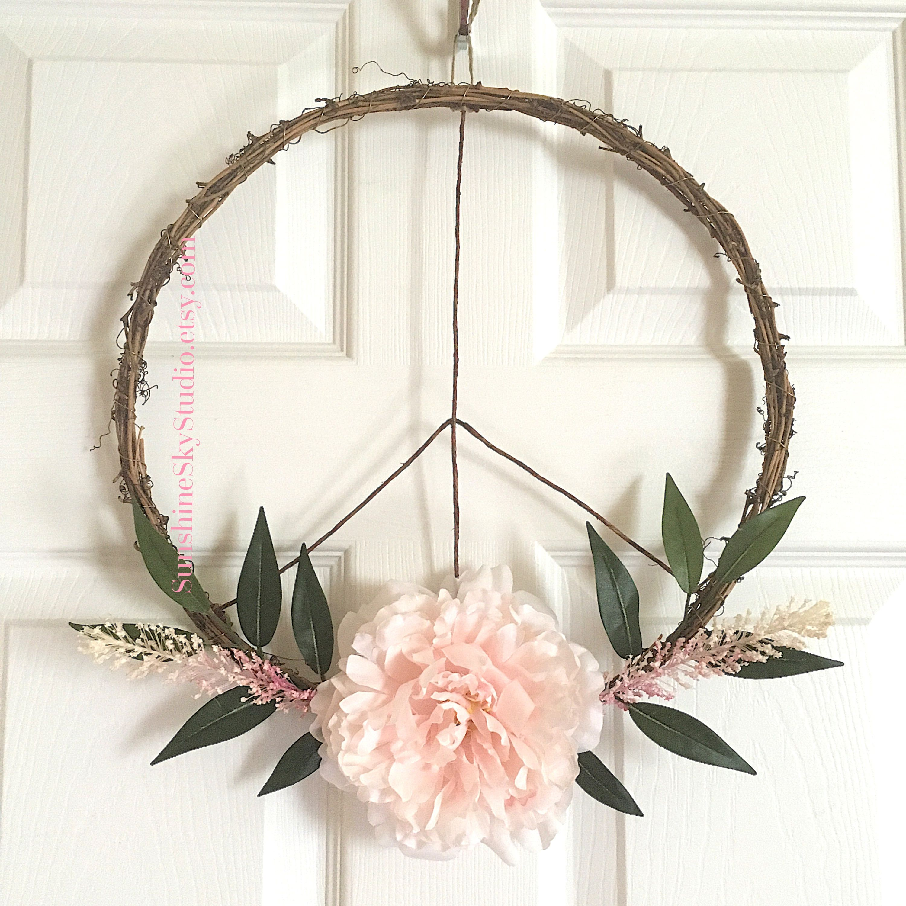 Peace Sign Decorating Ideas Pleasing Peace Sign Wreath Modern Wreath Boho Wreath Boho Nursery Ideas Inspiration