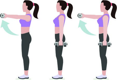 Resultado de imagen para levantamientos con mancuernas de hombro delantero