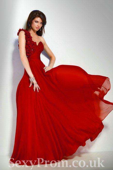 Sweetheart Chiffon One Shoulder Beautiful Designer Red Rosette ...
