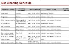 bar cleaning schedule cleaning checklist cleaning bar. Black Bedroom Furniture Sets. Home Design Ideas