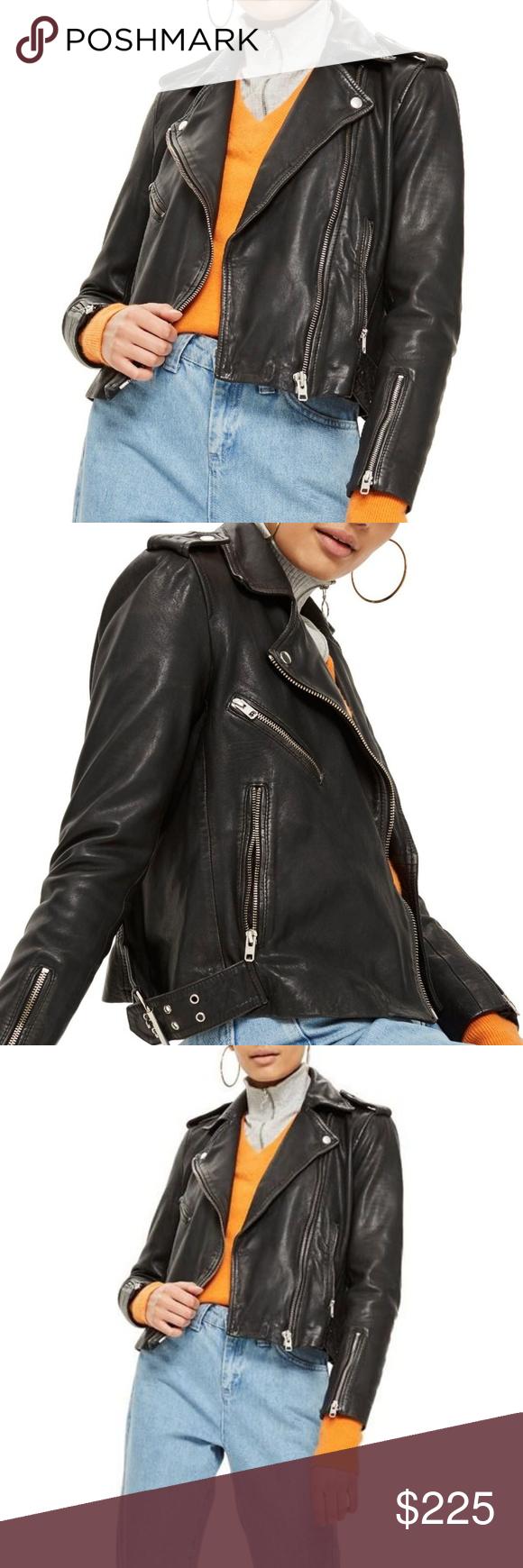 NEW Genuine Leather Jacket Biker Moto NWT (With