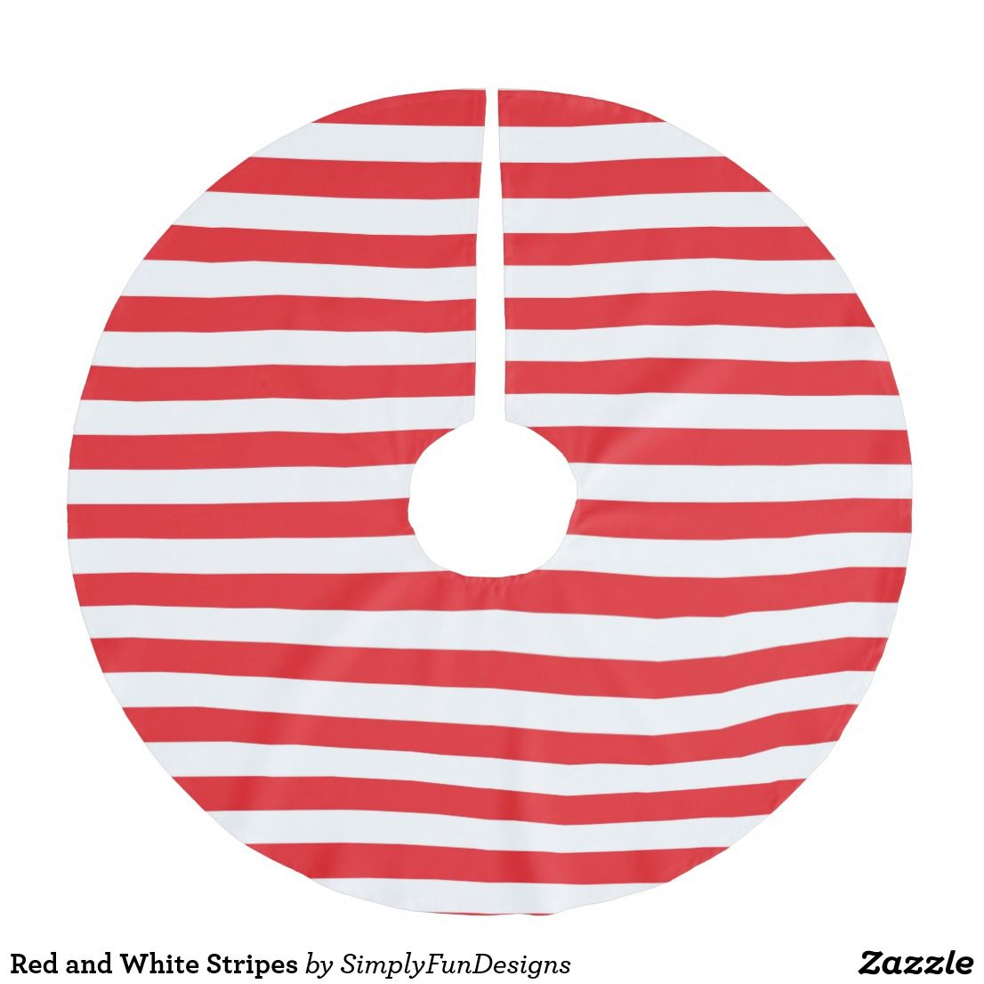 Red and White Stripes Brushed Polyester Tree Skirt   Zazzle.com   Red and white stripes, Red and ...
