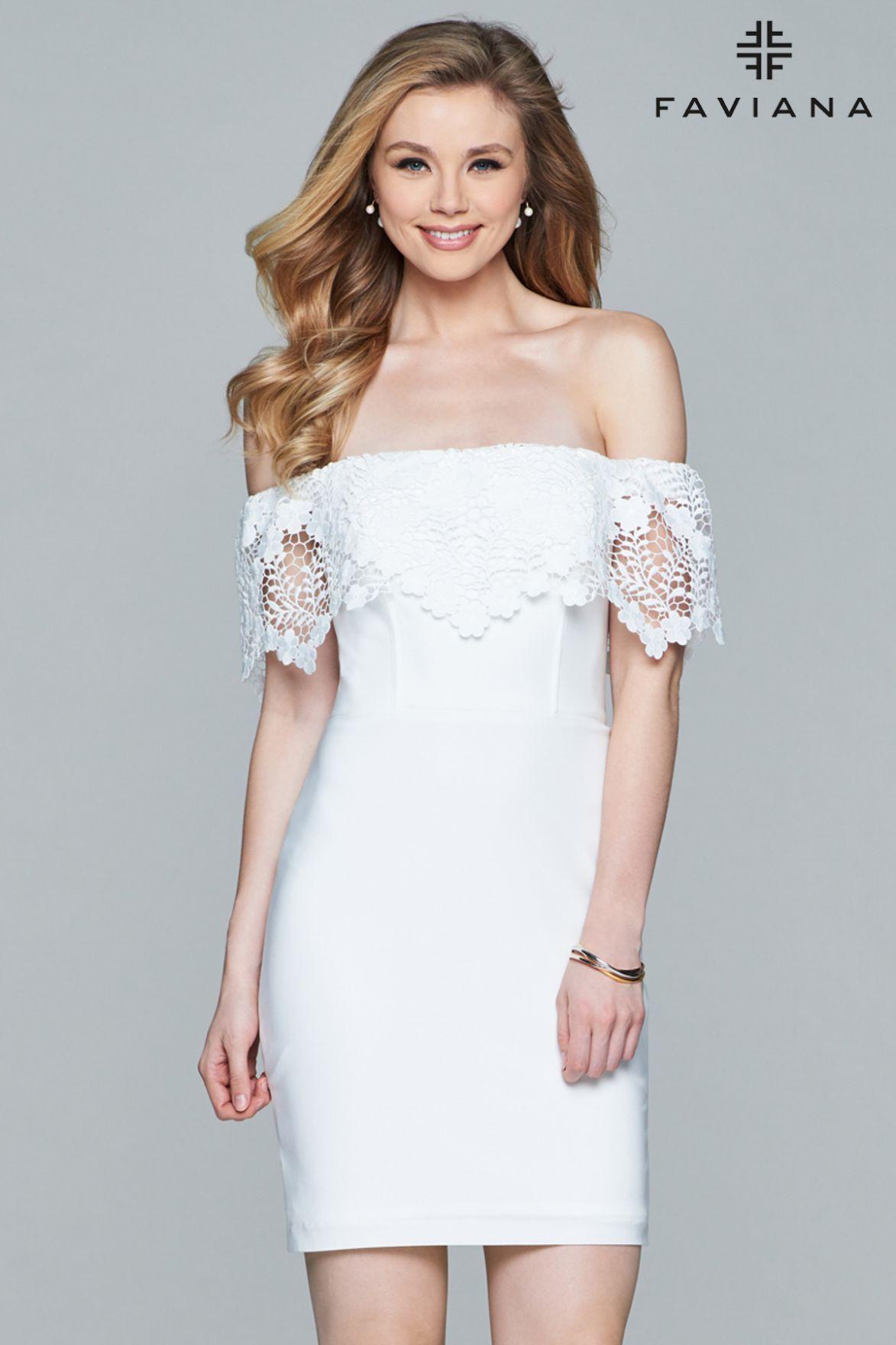 Shop short offtheshoulder jersey cocktail dress with hanging lace