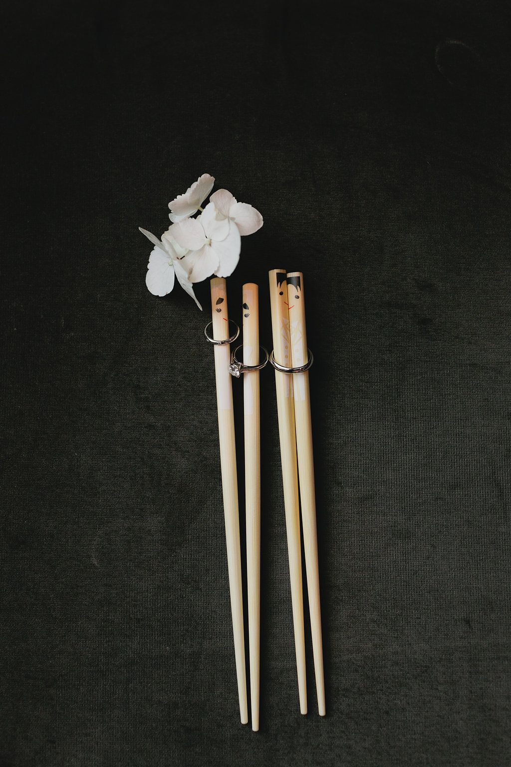 Their Wedding Bands on Chopsticks, so sweet http://www.fusion-events.ca/