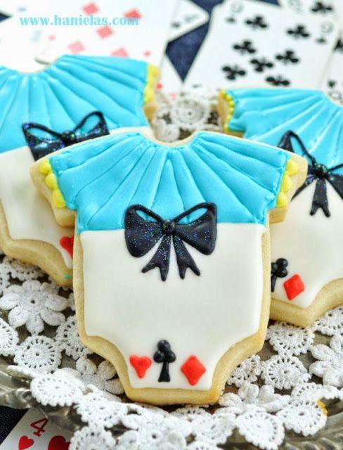 Alice In Wonderland Onesie Cookies Piping Bows On Cookies