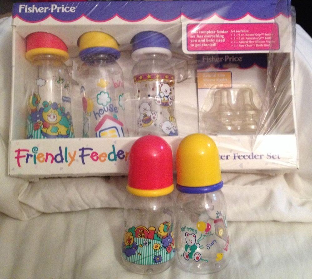 Vintage Fisher Price Friendly Feeder Baby Bottles New