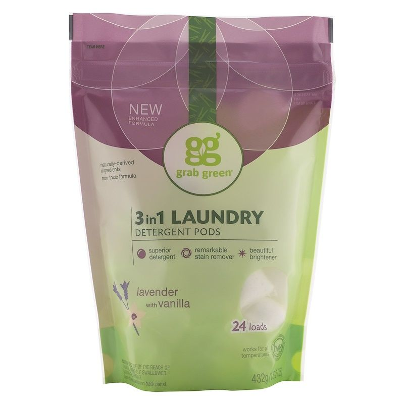 Grab Green 3 In 1 Laundry Detergent Pods Lavender 24 Loads