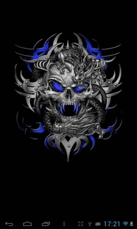 Wicked Skull Blue Live Wallpapers And Grim