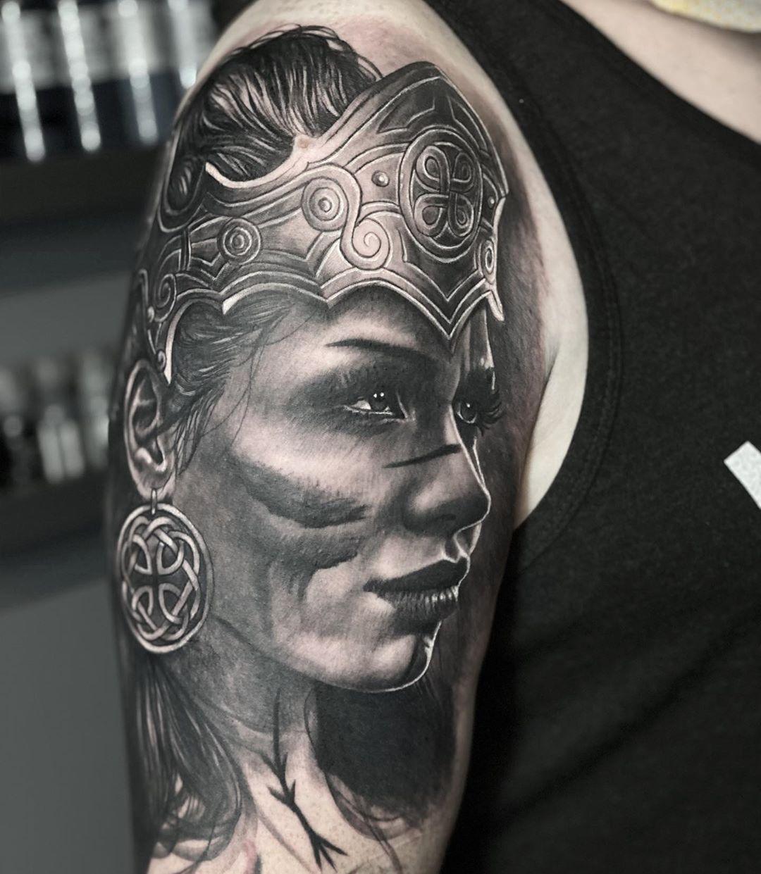 """Tamas Dikac on Instagram: """"Today's fun . . #norse #tattoo #art #realism #viking #vikingtattoo #realismtattoo #tattoorealistic #bngink #uktta #tattooist #spektraflux…"""""""