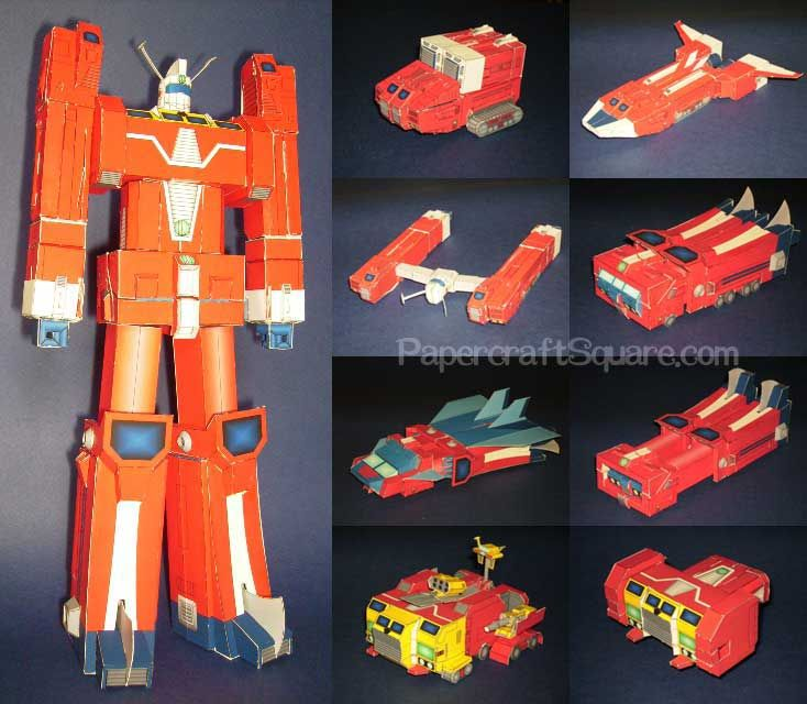 transformable space runaway ideon free robot papercraft download