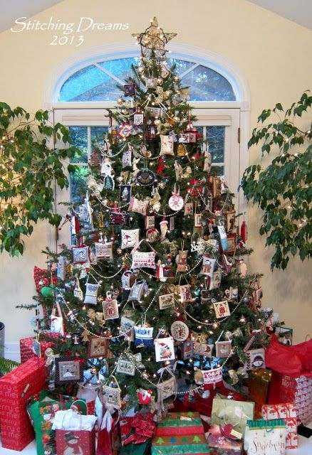 Stitching Dreams - Love this tree with the beautiful cross stitch ornaments.