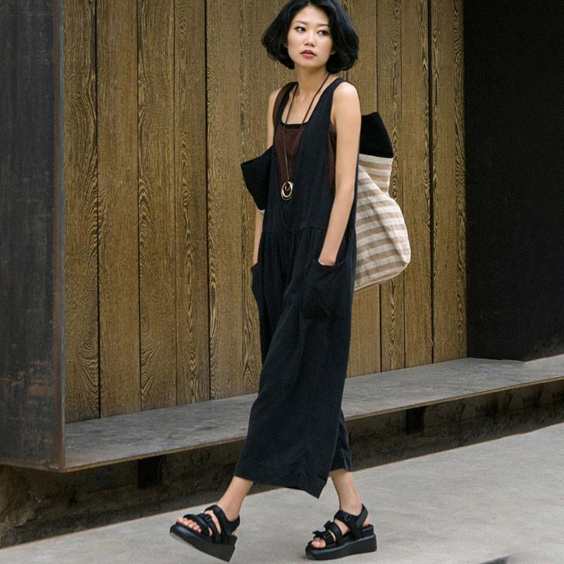 7f28f9d91f40 Summer Cotton Loose Casual Folded Women Black Overalls -Buykud ...