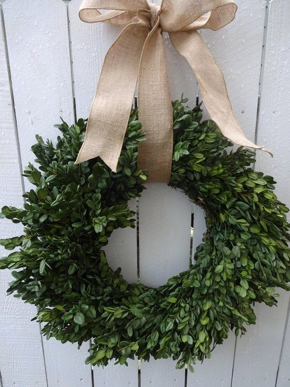 Photo of Boxwood Wreath  Farm House Wreath  Dried Wreath Natural Wreath  Saint Patrick's Day Wreath  Green Wreath  Shabby Chic  Home Decor Wreath