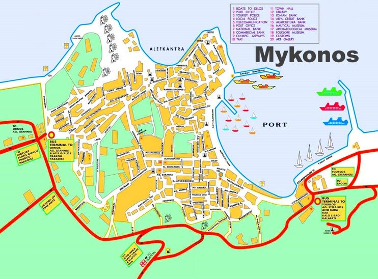 Mykonos Town tourist map Maps Pinterest Mykonos town Tourist