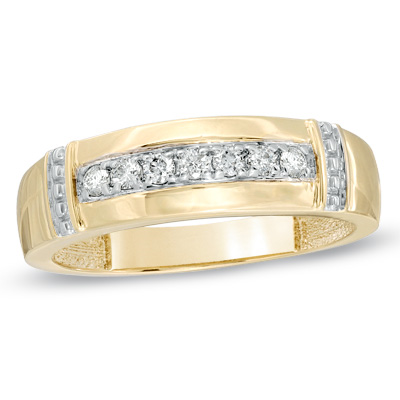 I Ve Tagged A Product On Zales Men S Ct Diamond Collar Wedding Band In Gold