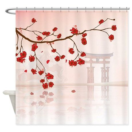 Pretty Cherry Blossom Against A Japanese Backgroun By Chic Gifts And Home Decor Cafepress Japanese Decor Japanese Shower Shower Curtain Decor