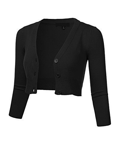FLORIA Women Solid Button Down 34 Sleeve Cropped Bolero