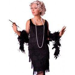 5479b58d47f36 1920s Long Black Flapper Costume Black Flapper Dress, 1920s Flapper Costume,  Adult Costumes,