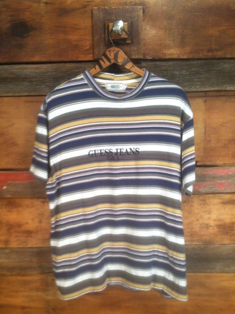 Vintage Guess Jeans Striped Shirt Short Sleeve USA Large