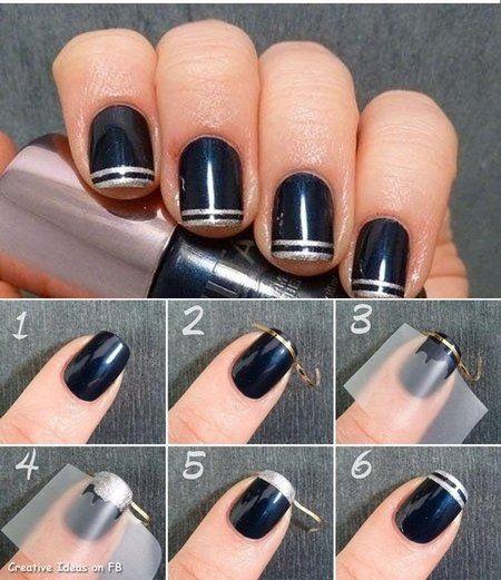 Double Striped Nail Art Using Stripe Sticker Tape Bellashoot Nail Art Hacks Simple Nails Nail Art Diy