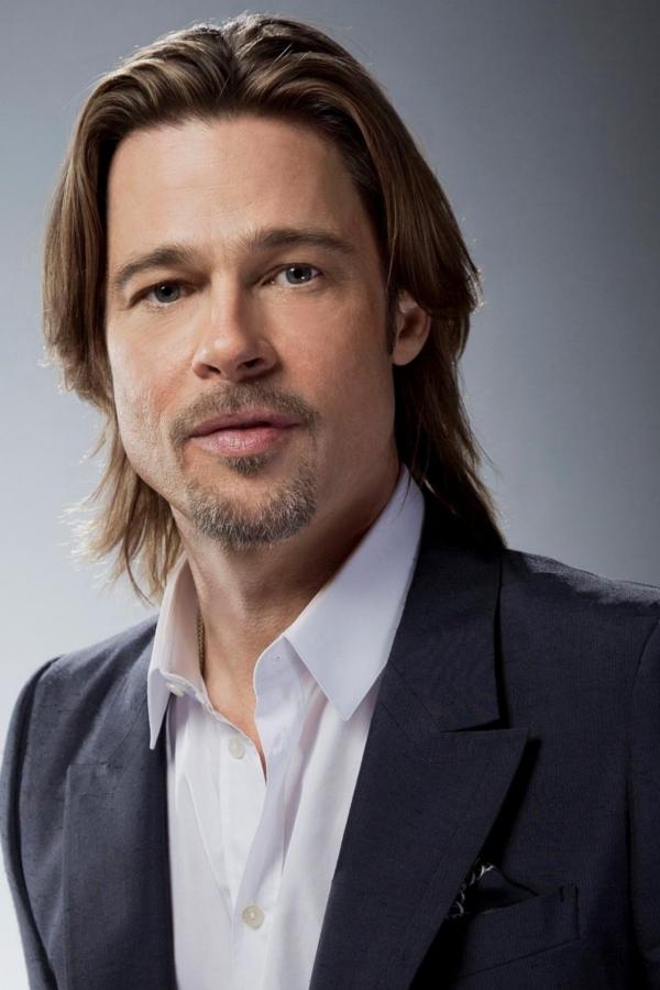 Actor Brad Pitt Posing For Photoshoot With A Blazer Beard And Long Hair Brad Pitt Hair Brad Pitt Hairstyle Gallery
