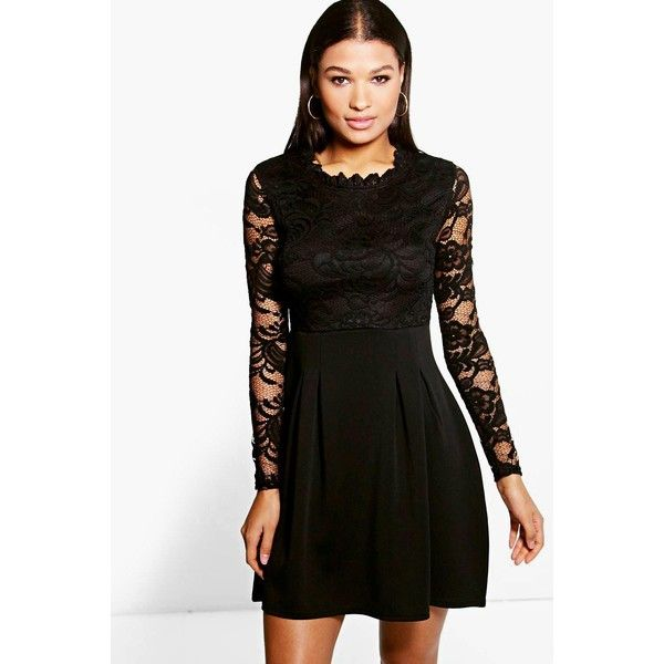 3f7c97d9d4893 Boohoo Night Lisa High Neck Lace Skater Dress featuring polyvore, women's  fashion, clothing, dresses, black, bodycon party dresses, cocktail party  dress, ...