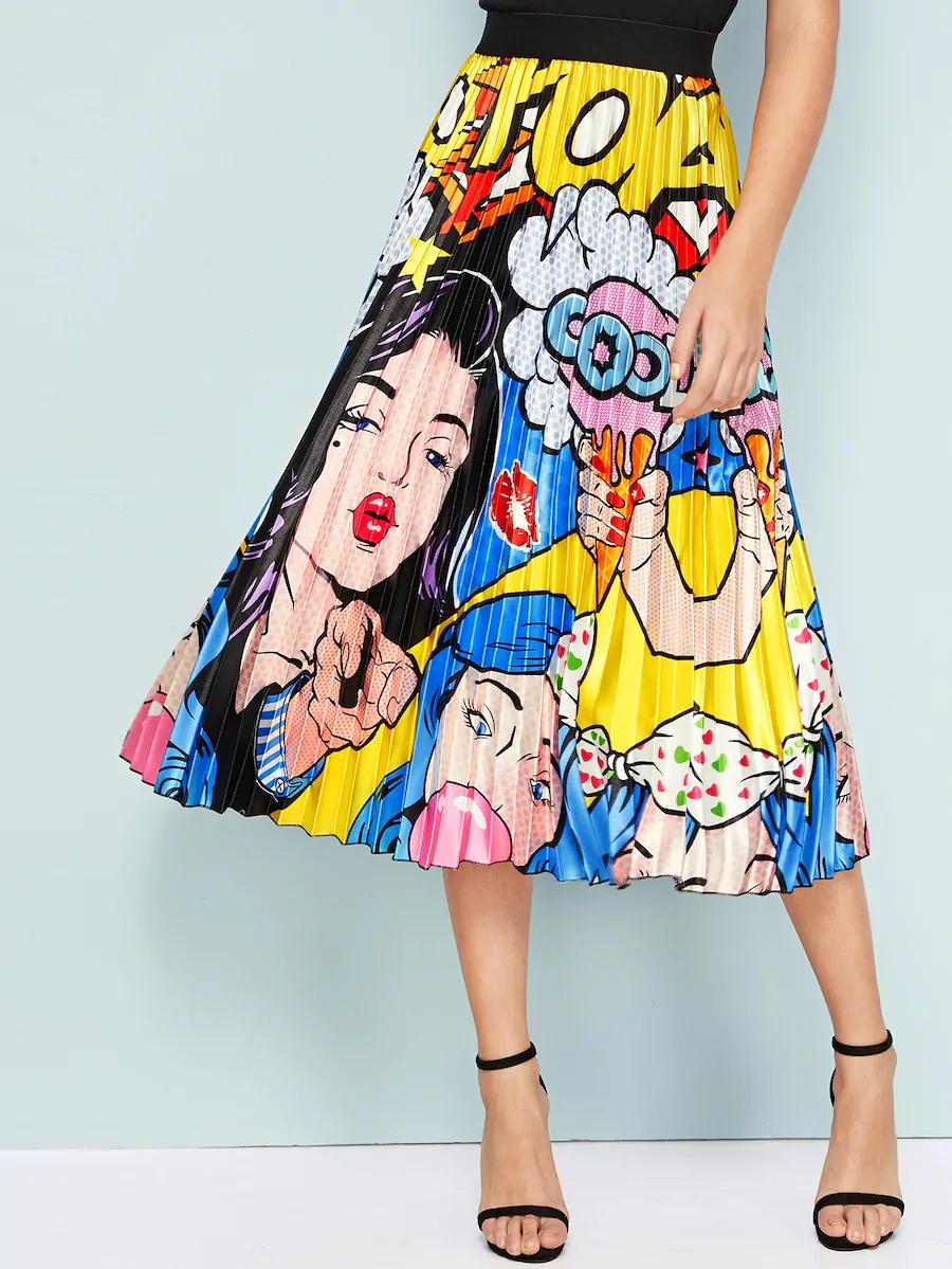 Falda Fruncido Con Estampado De Dibujos Animados Y Figura Shein Es Faldas Estampadas Faldas Neon Ropa
