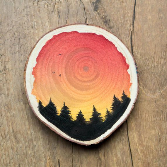 Watercolor Wood Disc Galaxy Stars Painting Pine Forest Trees