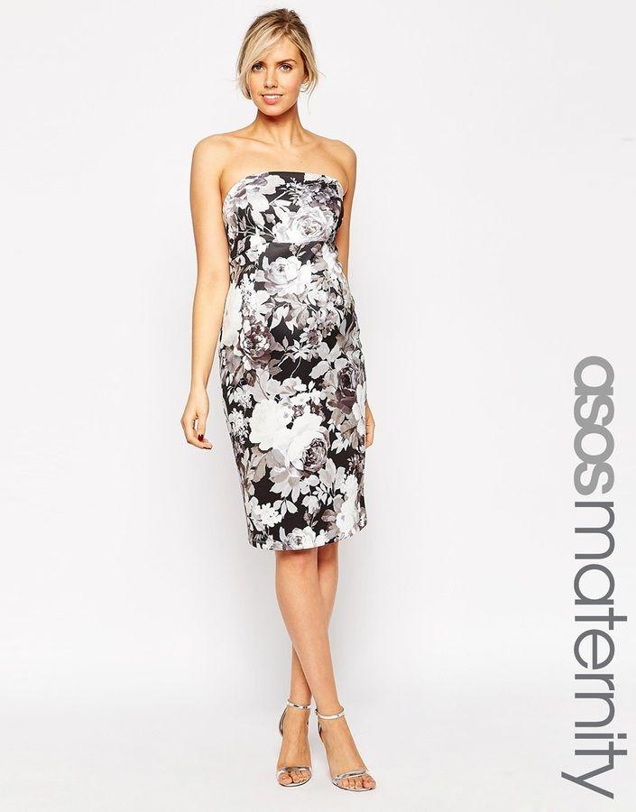 5ffe55998ce ASOS Maternity Scuba Bandeau Dress In Mono Floral Print  73.00 ...