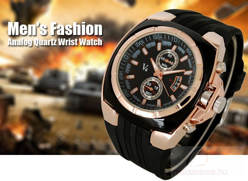 V6 Chunky Fekete Rose Gold Férfi karóra  09812dc10e