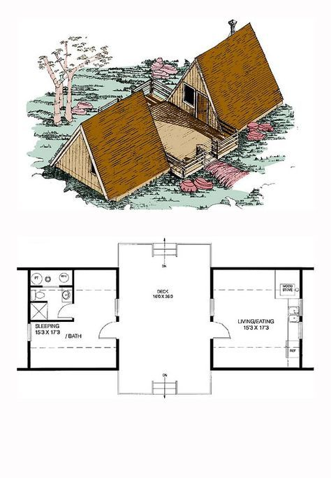 A Frame Style Cool House Plan Id Chp 18900 Total Living Area 576 Sq Ft 1 Bedroom And 1 Bathroom Af A Frame House Plans A Frame House Small House Plans
