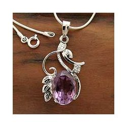 Sterling Silver 'Nostalgia' Amethyst Flower Necklace | $92.99 #Jewelry #Shine #Sparkle #Bling | Visit WISHCLOUDS.COM for more…