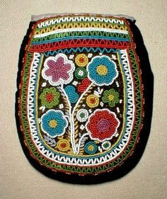 Antique beaded purse by Wabanaki peoples, probably Penobscot of Maine State, circa 1860.